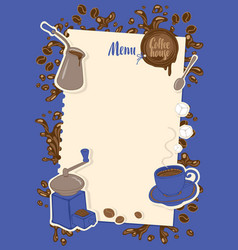 Menu with a cup sugar cezve and coffee grinder vector