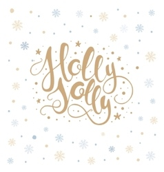 Merry christmas lettering over with snowflakes vector