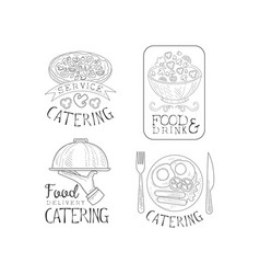 monochrome logos for catering companies vector image