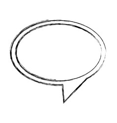 Monochrome sketch of oval speech with tail to vector