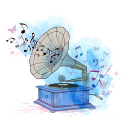 music background with vintage gramophone vector image