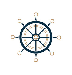 nautical steering wheel icon ship helm vector image