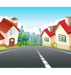 Neighborhood scene with many houses along the road vector image
