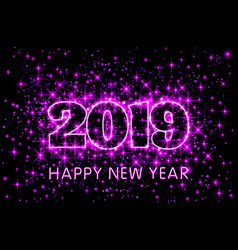 neon pink typography happy new year 2019 in vector image
