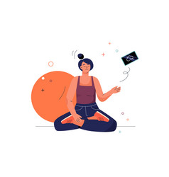 offline concept meditating woman sits in lotus vector image