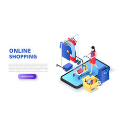 online shopping design concept with woman and vector image