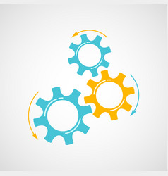 orange and blue cog and gear development concept vector image