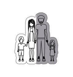 people couple with their children icon vector image