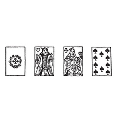 Playing cards vintage engraving vector image
