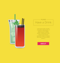 please have a drink promo web poster with cocktail vector image