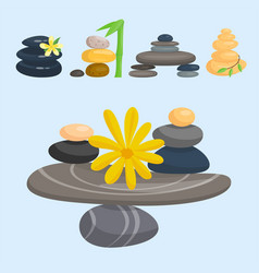 pyramid from sea pebble relax heap stones healthy vector image