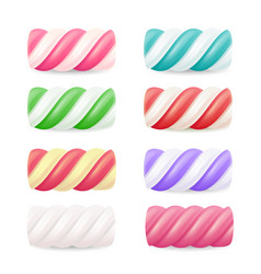 Realistic marshmallow candy set colorful vector