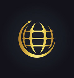 round arrow globe technology gold logo vector image