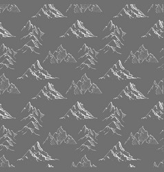 Seamless background with doodle sketch mountains vector