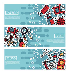 set horizontal banners about tattoo vector image