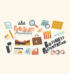 set icons business presentation project vector image