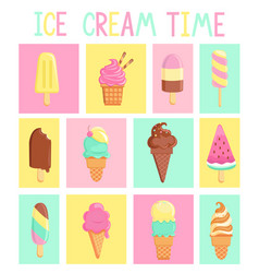Set isolated vintage cards with ice creams vector