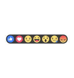 set of emoticons with like and heart emoji icons vector image