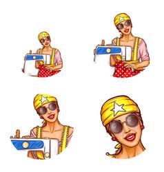 set of female avatars in pop art style vector image