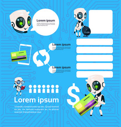 set of modern robot technology chatbots service on vector image