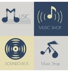 Set of music flat logos vector