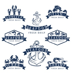 set of seafood Labels in retro style vector image