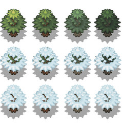 set of trees in pixel style vector image