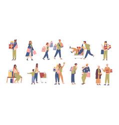 set various happy people buyer flat vector image