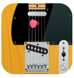 Square guitar icon vector