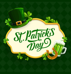 st patrick day cartoon poster with clover vector image