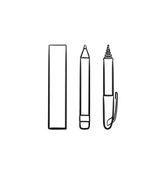 stationery ruler and pencil hand drawn sketch icon vector image