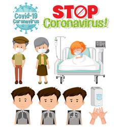 stop coronavirus logo with set patients vector image