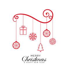stylish merry christmas greeting design background vector image