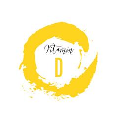 vitamin d watercolor logo yellow ink splash vector image