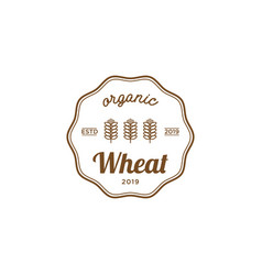 wheat organic vintage logo design inspiration vector image