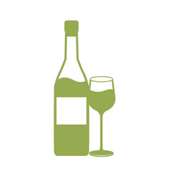 Wine bottle and cup drink celebration vector