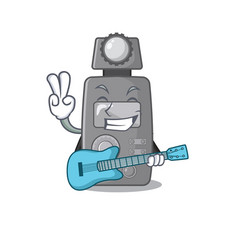 With guitar light meter on cartoon table vector