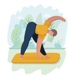 woman doing yoga outdoor in park vector image