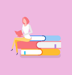 woman sitting on pile of books education knowledge vector image
