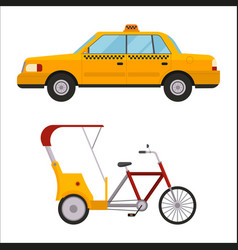 Yellow taxi rickshaw bike car vector
