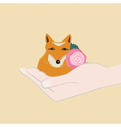 Adorable little fox with a pink flower vector image