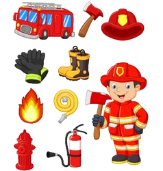 Cartoon collection of fire equipment vector image vector image