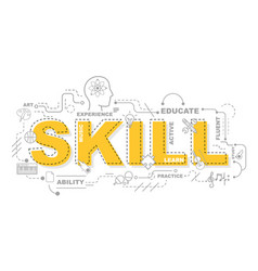 design concept of word skill website banner vector image vector image