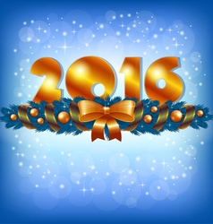 Golden New Year 2016 and Xmas decoration vector image vector image