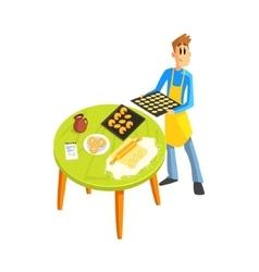 Guy Baking Cookies vector image vector image