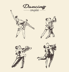 set dancing couples hand drawn sketch vector image