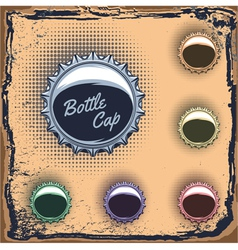 set of multicolored bottle caps on a grungy backgr vector image