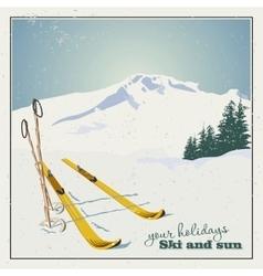 Ski equipment in the snow vector