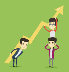 three business men holding growth graph vector image