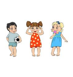 three cartoon children vector image vector image